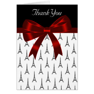 Eiffel Tower Red Bow Thank You Card