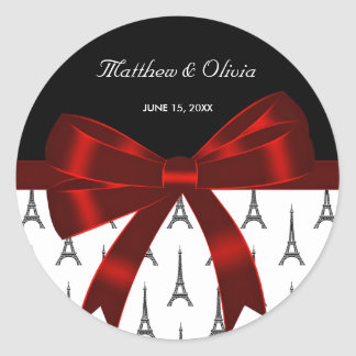 Eiffel Tower Red Bow Wedding Favor Stickers