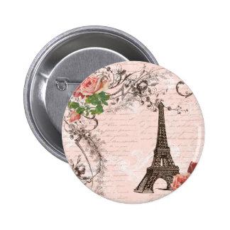 Eiffel Tower Red & Pink Rose 2 Inch Round Button