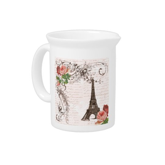 Eiffel Tower Red & Pink Rose Drink Pitcher