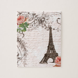 Eiffel Tower Red & Pink Rose Jigsaw Puzzle
