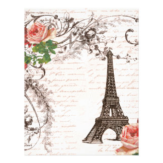 Eiffel Tower Red & Pink Rose Letterhead