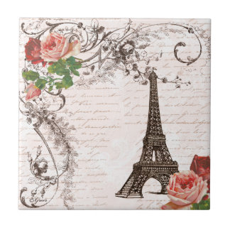 Eiffel Tower Red & Pink Rose Tile