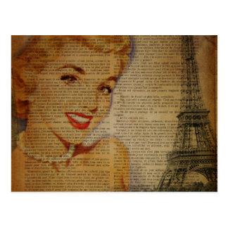 Eiffel Tower retro paris pin up girl Postcard