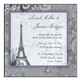 Eiffel Tower Scottish thistle ice metallic Personalized Invitations