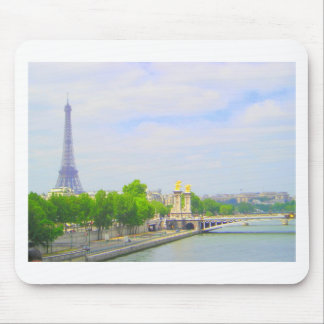 Eiffel Tower & Seine, Paris France Mouse Pad