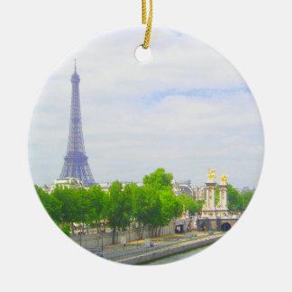 Eiffel Tower & Seine, Paris France Round Ceramic Ornament