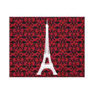 Eiffel Tower Silhouette, Damask - White Black Red Canvas Print