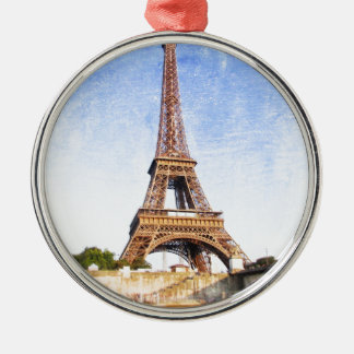 Eiffel Tower Silver-Colored Round Ornament