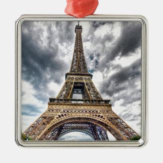 Eiffel Tower Silver-Colored Square Ornament