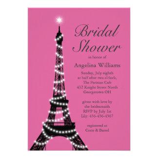 Eiffel Tower Sparkles Bridal Shower Invite fuchsia