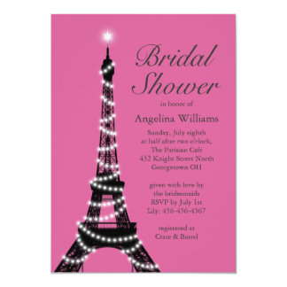 Eiffel Tower Sparkles Bridal Shower Invite fuchsia