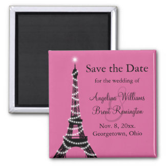 Eiffel Tower Sparkles Save the Date  (fuchsia) Magnet