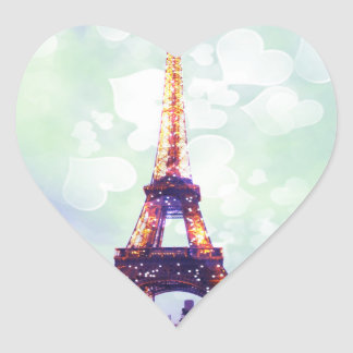 Eiffel Tower Sticker, Green, Blue Heart-shaped Heart Sticker