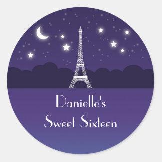 Eiffel Tower Sweet Sixteen Favor Sticker