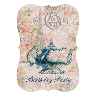 eiffel tower tea pot  vintage birthday party personalized announcement