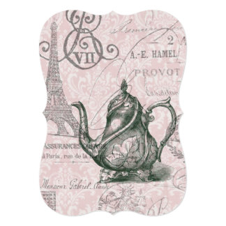 eiffel tower tea pot  vintage birthday party 5x7 paper invitation card