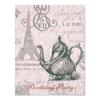 eiffel tower tea pot  vintage birthday party 4.25x5.5 paper invitation card