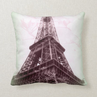 Eiffel Tower Throw Pillow in Green and Floral