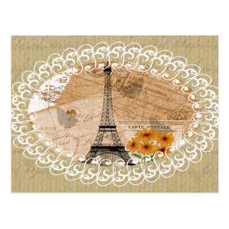 Eiffel Tower Vintage French Postcards & Map