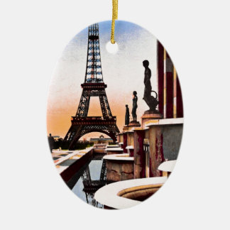 Eiffel Tower Vintage Hand Colored Birds Eye View Ceramic Oval Ornament