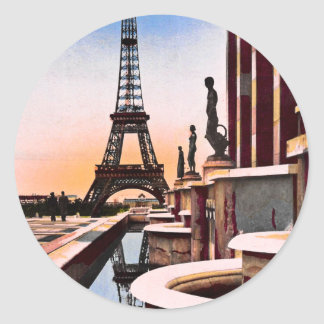 Eiffel Tower Vintage Hand Colored Birds Eye View Classic Round Sticker