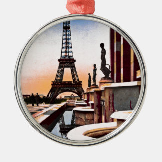 Eiffel Tower Vintage Hand Colored Birds Eye View Silver-Colored Round Ornament