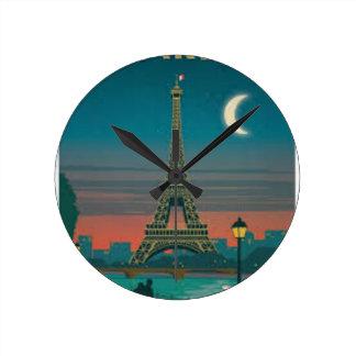 Eiffel Tower vintage Paris Round Clock