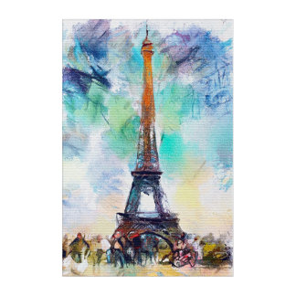 Eiffel Tower Watercolor Acrylic Wall Art