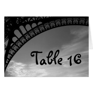 Eiffel Tower Wedding Table Number Cards