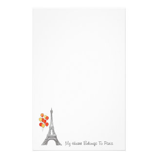 Eiffel Tower with balloons Notepaper Stationery