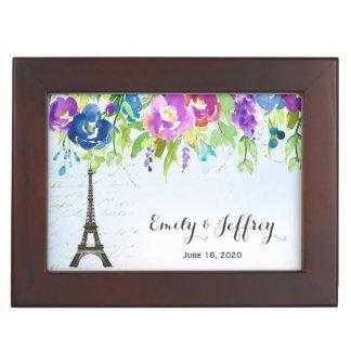 Eiffel Tower with boho floral Keepsake Box