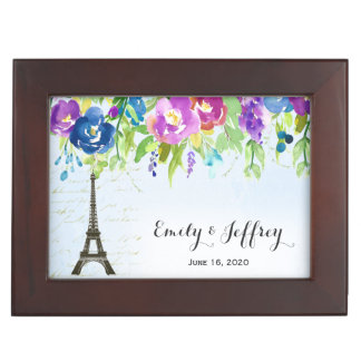 Eiffel Tower with boho floral Memory Boxes