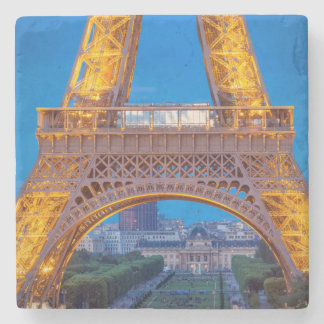 Eiffel Tower with Ecole Militaire beyond Stone Coaster