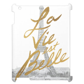 Eiffel Tower with Gold writing iPad Covers