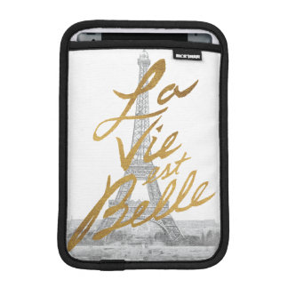 Eiffel Tower with Gold writing iPad Mini Sleeves