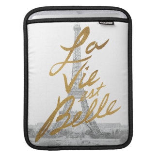 Eiffel Tower with Gold writing iPad Sleeve