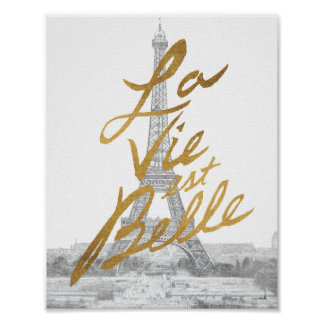 Eiffel Tower with Gold writing Poster