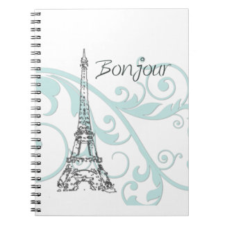 Eiffel Tower with Green Swirls Notebook