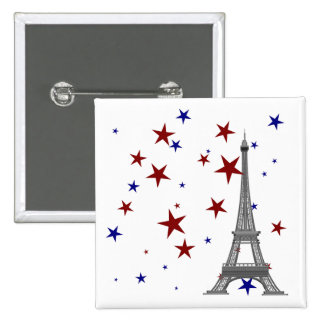 Eiffel Tower with Stars 2 Inch Square Button