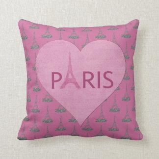 Eiffel Towers Pattern | Paris Pink Heart Throw Pillow