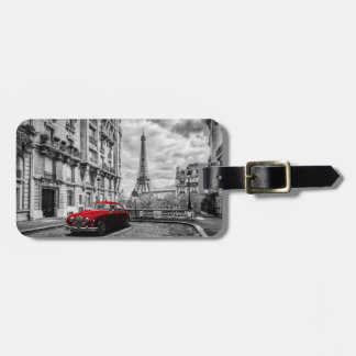 Eiffle Tower Black, White and Red. Luggage Tag