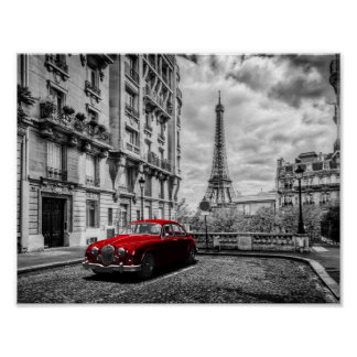 Eiffle Tower Black, White and Red. Poster
