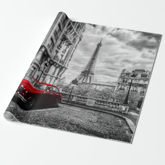 Eiffle Tower Black, White and Red. Wrapping Paper