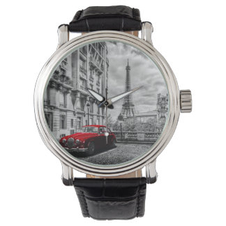 Eiffle Tower Black, White and Red. Wrist Watch