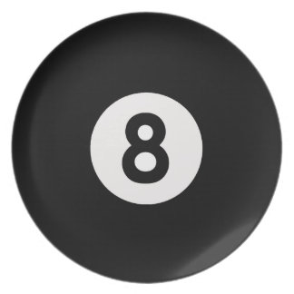 Eight Ball Design Decorative Plate