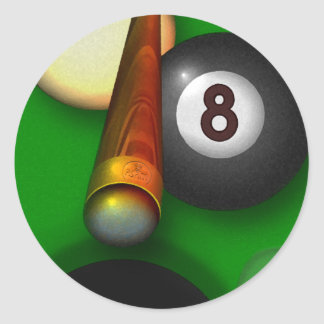 Eight Ball Pool and Billiards Classic Round Sticker