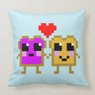 Eight Bit Peanut Butter and Jelly Throw Pillow