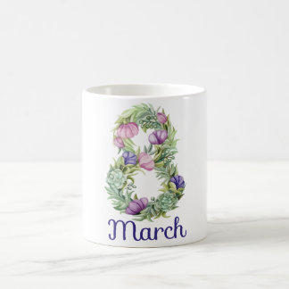 Eight march women day floral typography coffee mug