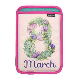 Eight march women day floral typography iPad mini sleeve